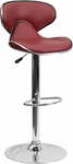 Contemporary Cozy Mid-Back Burgundy Vinyl Adjustable Height Barstool with Chrome Base [DS-815-BURG-GG]