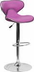 Contemporary Cozy Mid-Back Purple Vinyl Adjustable Height Barstool with Chrome Base [DS-815-PUR-GG]