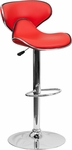 Contemporary Cozy Mid-Back Red Vinyl Adjustable Height Barstool with Chrome Base [DS-815-RED-GG]