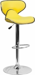 Contemporary Cozy Mid-Back Yellow Vinyl Adjustable Height Barstool with Chrome Base [DS-815-YEL-GG]