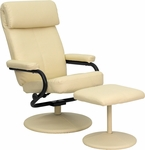 Contemporary Cream Leather Recliner and Ottoman with Leather Wrapped Base [BT-7863-CREAM-GG]