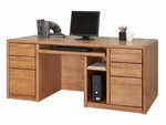 Contemporary Collection 68.25''W x 29''H Double Pedestal Computer Desk - Medium Oak [00685-FS-KIMF]