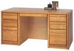 Contemporary Collection 60''W x 29''H Double Pedestal Desk - Medium Oak [00670-FS-KIMF]
