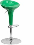Contemporary Green Plastic Adjustable Height Barstool with Chrome Base [CH-TC3-103-GN-GG]