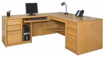 Contemporary Collection L Shaped Workstation with Left Return - Medium Oak [00681L-X-006841L-X-R-FS-KIMF]