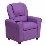 Contemporary Lavender Vinyl Kids Recliner with Cup Holder and Headrest [DG-ULT-KID-LAV-GG]