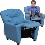 Contemporary Light Blue Vinyl Kids Recliner with Cup Holder [BT-7950-KID-LTBLUE-GG]