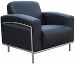 Contemporary CaressoftPlus Lounge Chair with Stainless Steel Frame - Black [BR99001-BK-FS-BOSS]
