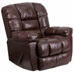 Contemporary New Era Walnut Leather Chaise Rocker Recliner [AM-9550-4800-GG]