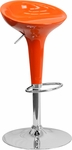 Contemporary Orange Plastic Adjustable Height Barstool with Chrome Base [CH-TC3-103-ORG-GG]
