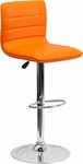 Contemporary Orange Vinyl Adjustable Height Barstool with Chrome Base [CH-92023-1-ORG-GG]
