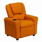 Contemporary Orange Vinyl Kids Recliner with Cup Holder and Headrest [DG-ULT-KID-ORANGE-GG]