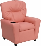 Contemporary Pink Vinyl Kids Recliner with Cup Holder [BT-7950-KID-PINK-GG]