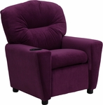 Contemporary Purple Microfiber Kids Recliner with Cup Holder [BT-7950-KID-MIC-PUR-GG]