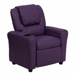 Contemporary Purple Vinyl Kids Recliner with Cup Holder and Headrest [DG-ULT-KID-PUR-GG]