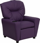Contemporary Purple Vinyl Kids Recliner with Cup Holder [BT-7950-KID-PUR-GG]