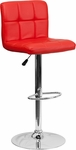 Contemporary Red Quilted Vinyl Adjustable Height Barstool with Chrome Base [DS-810-MOD-RED-GG]
