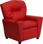 Contemporary Red Vinyl Kids Recliner with Cup Holder [BT-7950-KID-RED-GG]