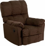 Contemporary Top Hat Chocolate Microfiber Power Recliner with Push Button [AM-P9320-4171-GG]