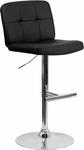 Contemporary Tufted Black Vinyl Adjustable Height Barstool with Chrome Base [DS-829-BK-GG]