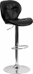 Contemporary Tufted Black Vinyl Adjustable Height Barstool with Chrome Base [SD-2208-BK-GG]