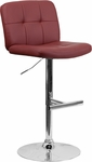 Contemporary Tufted Burgundy Vinyl Adjustable Height Barstool with Chrome Base [DS-829-BURG-GG]