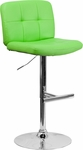 Contemporary Tufted Green Vinyl Adjustable Height Barstool with Chrome Base [DS-829-GRN-GG]
