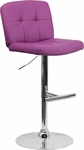 Contemporary Tufted Purple Vinyl Adjustable Height Barstool with Chrome Base [DS-829-PUR-GG]