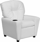 Contemporary White Vinyl Kids Recliner with Cup Holder [BT-7950-KID-WHITE-GG]