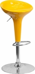 Contemporary Yellow Plastic Adjustable Height Barstool with Chrome Base [CH-TC3-103-YEL-GG]