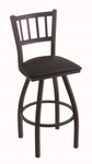 Contessa 25'' Black Wrinkle Finish Counter Height Swivel Stool with Black Vinyl Seat [81025BWBLKVINYL-FS-HOB]