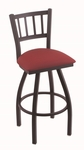 Contessa 25'' Black Wrinkle Finish Counter Height Swivel Stool with Gr 1 Allante Wine Vinyl Seat [81025BWALWINE-FS-HOB]