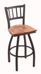 Contessa 25'' Black Wrinkle Finish Counter Height Swivel Stool with Medium Maple Wood Seat [81025BWMEDMPL-FS-HOB]