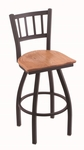 Contessa 25'' Black Wrinkle Finish Counter Height Swivel Stool with Medium Oak Wood Seat [81025BWMEDOAK-FS-HOB]