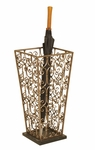 Perugia Scrolled Gold Metal Finish 21''H Umbrella Stand with Black Marble Base [2148-FS-PAS]