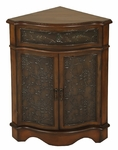 Traditional Wooden 16''W x 30''H Corner Cabinet with Tin Panel Accents - Walnut [2335-FS-PAS]