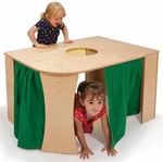Corner Playhouse with Curtain on Side and Window on Top [WB0205-FS-WBR]