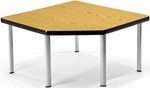 Corner Table with Five Silver Legs - Oak [ET3030-OAK-SLG-FS-MFO]