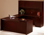 Corsica Suite with Bow Front Desk and Wood Doors Hutch - Mahogany on Walnut Veneer [CT2MAH-FS-MAY]