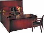 Corsica Suite with Bow Front Desk and Wood Doors Hutch - Sierra Cherry Finish on Cherry Veneer [CT2CRY-FS-MAY]