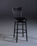 Cottage Metal 26'' Counter Height Stool with Black Vinyl Swivel Seat - Rubbed Black [4366-826-FS-HILL]