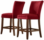 Cranberry Red Microfiber Cherry Parson Barstool-Set Of 2 [721RD-24-2PC-FS-HOM]