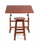 Height Adjustable Solid Wood Creative Table with Matching Stool - Walnut [13257-FS-SDI]
