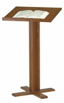 Stained Red Oak Lectern with Cross Base [T-35-TRN]
