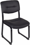 Crusoe 34''H Armless Steel Frame Side Chair - Black Leather [1007BK-FS-REG]