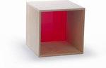 Birch Laminate Cube Storage with Thick Acrylic Red Back [WB0905R-FS-WBR]