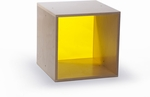 Birch Laminate Cube Storage with Thick Acrylic Yellow Back [WB0905Y-FS-WBR]
