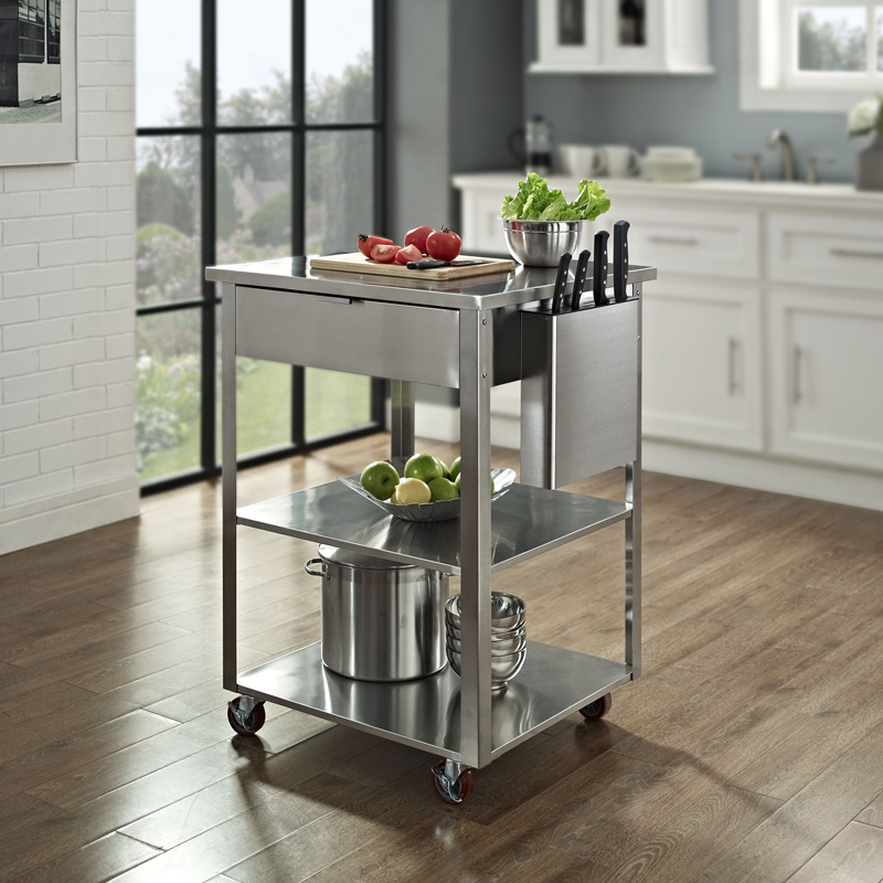 Culinary Prep Kitchen Cart in Stainless Steel, CF3009-ST by Crosley |  BizChair.com