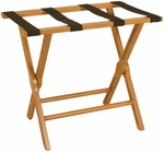 Wooden 21''H Luggage Rack with Cut-Out Design Legs - Brown [LR-107-FS-PAS]