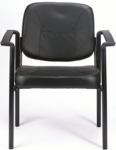 Dakota 26.5'' W x 24.5'' D x 33.4'' H Vinyl Side Chair with Arms - Black [VS8012-FS-EURO]